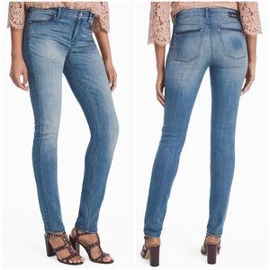 WHBM Leather Trim Skinny Jeans